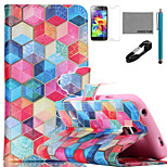 COCO FUN® Colorful Diamondcheck Pattern PU Leather Case with V8 USB Cable, Flim and Stylus for Samsung Galaxy S5 MINI