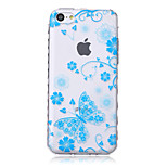 Blue Butterfly Pattern Transparent TPU Soft Case for iPhone5c