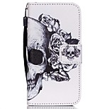 The New Skull Pattern Lanyard PU Leather Material Flip Card Cell Phone Case for iPhone 5 /5S