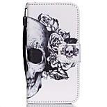 hzbyc®white motif de crâne cas PU carte des matériaux de cordon pour iPhone 5 / 5s