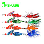 Afishlure Lead Fish Jig with Treble Hook and Feather Tail Rotating Sequins Lead Jig 9g 1/3 Ounce 4pcs/lot 4 Colors