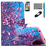 COCO FUN® Flower Tree Sky Pattern PU Leather Case with V8 USB Cable, Flim and Stylus for Samsung Galaxy S5 MINI
