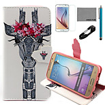 COCO FUN® Garland Eyelash Giraffe Pattern PU Leather Case with V8 USB Cable, Film and Stylus for Samsung Galaxy S6