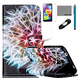 COCO FUN® Rainbow Dandelion Pattern PU Leather Case with V8 USB Cable, Stylus and Stand for Samsung Galaxy S4 I9500