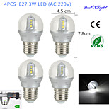 Ampoules Globe Décorative Blanc Froid YouOKLight 4 pièces B E26/E27 3 W 12 SMD 2835 260 LM AC 100-240 V