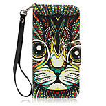 New Lanyard  Painted Cat Pattern PU Leather Material Phone Case for Huawei P8 Lite