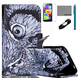 COCO FUN® Night Owl Pattern PU Leather Case with V8 USB Cable, Flim,Stylus and Stand for Samsung Galaxy S5 I9600