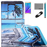 COCO FUN® Seascape in Window Pattern PU Leather Case with V8 USB Cable, Flim and Stylus for Samsung Galaxy Note 5