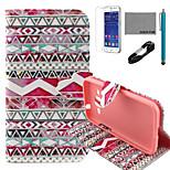 Coco Fun® tribal rosa patrón de la caja de cuero de la PU con el usb v8 cable, flim y lápiz para Samsung G360 primer núcleo de la galaxia