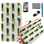 COCO FUN® White Pineapple Pattern PU Leather Case with V8 USB Cable, Flim and Stylus for Samsung Galaxy S5 MINI