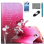 COCO FUN® Dancing Dandelion Pattern PU Leather Case with V8 USB Cable, and Stylus for Samsung Galaxy S4 MINI i9190