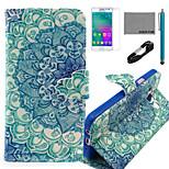 coco fun® pauw staart patroon pu lederen tas met v8 usb-kabel, flim en stylus voor de Samsung Galaxy a3