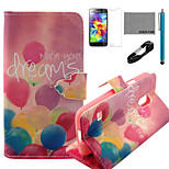 COCO FUN® Colorful Balloon Pattern PU Leather Case with V8 USB Cable, Flim and Stylus for Samsung Galaxy S5 MINI
