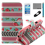 COCO FUN® Rose Stripe Pattern PU Leather Case with V8 USB Cable, Flim and Stylus for Samsung Galaxy S4 MINI i9190