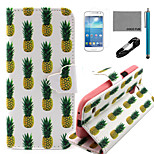 COCO FUN® White Pineapple Pattern PU Leather Case with V8 USB Cable, Flim and Stylus for Samsung Galaxy S4 MINI i9190