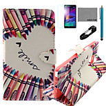 COCO FUN® Crayon Heart Pattern PU Leather Case with V8 USB Cable, Flim and Stylus for Samsung Galaxy Note 4