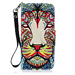 New Lanyard  Painted Lion Pattern PU Leather Material Phone Case for Huawei P8 Lite