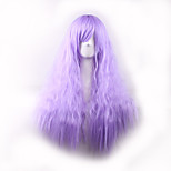 Cosplay Wigs 70cm Long Kinky Straight Light Purple Color Ladies Synthetic Hair Wig