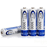 BTY 3000mAh Rechargeable Ni-MH 1.2V batteries(4pcs per pack)