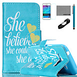 COCO FUN® She Believe She Could Pattern PU Leather Case with V8 USB Cable, Film and Stylus for Samsung Galaxy J1