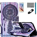 COCO FUN® Purple Dreamcatcher Pattern PU Leather Case with V8 USB Cable, Flim, Stylus and Stand for Samsung Galaxy S6