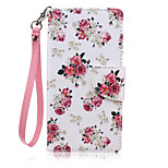 New Lanyard  Pink Flower Pattern PU Leather Material Phone Case for Huawei P8 Lite