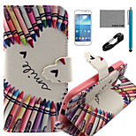coco fun® krijt hart patroon pu lederen tas met v8 usb-kabel, flim en stylus voor Samsung Galaxy S4 mini i9190