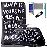 COCO FUN® Be Yourself Pattern PU Leather Case with V8 USB Cable, Flim and Stylus for Samsung Galaxy Core Prime G360