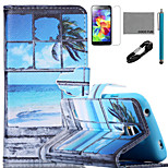 COCO FUN® Seascape in Window Pattern PU Leather Case with V8 USB Cable,Stylus and Stand for Samsung Galaxy S4 I9500