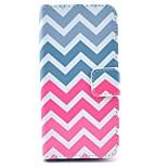 patrón de onda de color rosa de la PU del soporte del cuero cubierta de la caja con ranura para tarjeta para el iphone 5 / 5s