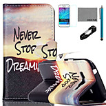 COCO FUN® Sunrise of Mountain Pattern PU Leather Case with V8 USB Cable, Film and Stylus for Samsung Galaxy J1