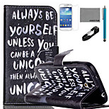COCO FUN® Always Be Yourself Pattern PU Leather Case with V8 USB Cable, and Stylus for Samsung Galaxy S4 MINI i9190