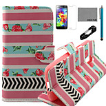 COCO FUN® Rose Stripe Pattern PU Leather Case with V8 USB Cable, Flim and Stylus for Samsung Galaxy S5 MINI