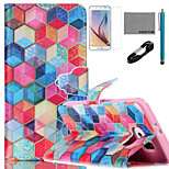 COCO FUN® Colorful Diamondcheck Pattern PU Leather Case with V8 USB Cable, Film and Stylus for Samsung Galaxy S6