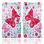 Butterfly Pattern Card Stand Leather Case for Sony Xperia Z3/Z4/E3/E4/T3