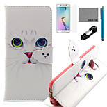 COCO FUN® White Cat Pattern Pattern PU Leather Case V8 USB Cable, Flim, Stylus and Stand for Samsung Galaxy S6 edge