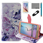 COCO FUN® Life Is Beautiful Pattern PU Leather Case with V8 USB Cable, Film and Stylus for Samsung Galaxy S6
