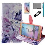 vita coco fun® è bellissimo disegno pu custodia in pelle con il cavo usb v8, del cinema e dello stilo per Samsung Galaxy S6
