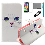 COCO FUN® White Cat Pattern PU Leather Case with V8 USB Cable, Flim and Stylus for Samsung Galaxy S5 MINI