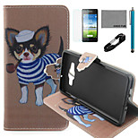 COCO FUN® Tobacco Pipe Dog Pattern PU Leather Case with V8 USB Cable, Flim and Stylus for Samsung Galaxy A5