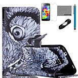 COCO FUN® Night Owl Pattern PU Leather Case with V8 USB Cable, Flim and Stylus for Samsung Galaxy S5 MINI