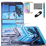 COCO FUN® Seascape in Window Pattern PU Leather Case with V8 USB Cable, Film and Stylus for Samsung Galaxy S6 Edge Plus