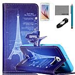 eiffel Fun® de coco Dibujo de la torre patrón de la caja de cuero de la PU con el usb v8 cable, cine y lápiz para la galaxia s6