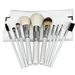 Premium Synthetic Kabuki Makeup Brush Set Cosmetics Foundation Blending Brush Makeup Brush Kit (10pcs, White)