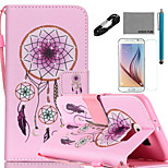 COCO FUN® Windbell Pattern PU Leather Case V8 USB Cable Film and Stylus for Samsung Galaxy S6/S6 EDGE/S6 EDGE PLUS