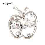 D Exceed New Arrival Brooches Pins Silver Clear Apple Crystal Brooch Bouquet For Womens/Kids Brooch