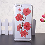 The New Embedded Herbarium Five Peach Green Pattern TPU Material Phone Case for iPhone 6 / 6S