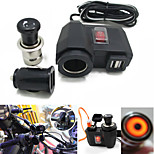 Motorcycle Double SUB Car Charger With Double USB Plug Charging Plus Cigar Lighter