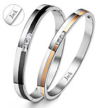 Valentine's Day Gifts Personalized Jewelry Couple's Lovers Titanium Steel Gold/Black Bracelets(One Pair)