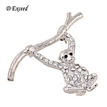 D Exceed Fashion Lovely brooches pins silver lovely monkey crystal brooch bouquet for womens/Kids brooch